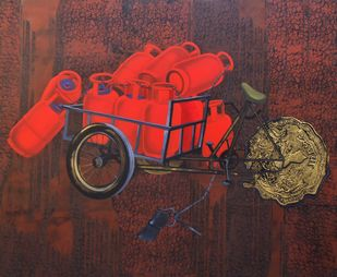 Untitled by Amol Tote, Pop Art Painting, Mixed Media on Canvas, Brown color