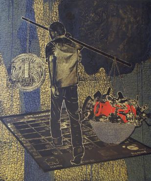 Untitled by Amol Tote, Pop Art Painting, Mixed Media on Canvas, Gray color