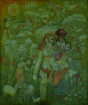 Village Life 1 by Prodyut Kumar Pal, Decorative Painting, Acrylic on Canvas, Green color