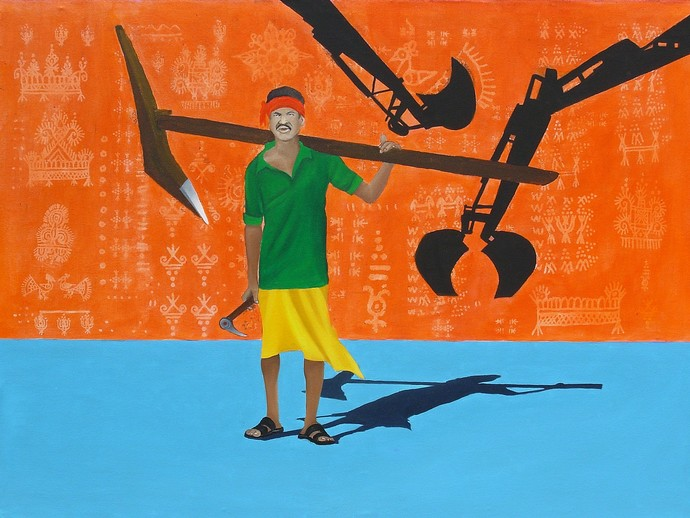 Chhattisgarh Diaries : Land Stories by Tushar Waghela, Pop Art Painting, Acrylic on Canvas, Orange color