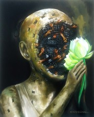 Face Of Life by Shambhu Nath Goswami, Surrealism Painting, Acrylic on Canvas, Green color