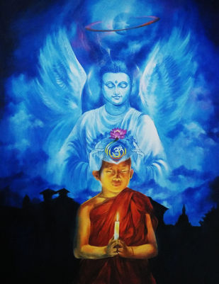 The Divine Monk by Shambhu Nath Goswami, Surrealism Painting, Acrylic on Canvas, Blue color