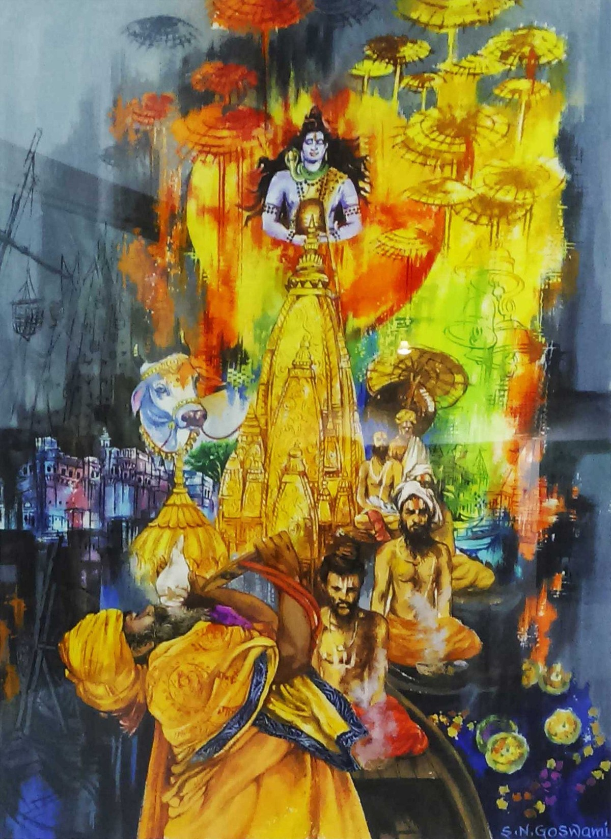 Devotees In Banaras by Shambhu Nath Goswami, Impressionism Painting, Mixed Media on Paper, Brown color