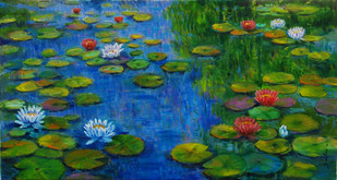 Lily Pond 1 by Sulakshana Dharmadhikari, Impressionism , Oil on Canvas, Green color