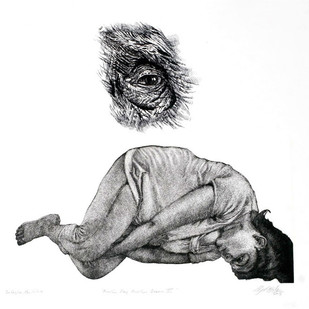 Another Day Another Dream VI by Subba Ghosh, Illustration Printmaking, Intaglio on Paper, White color