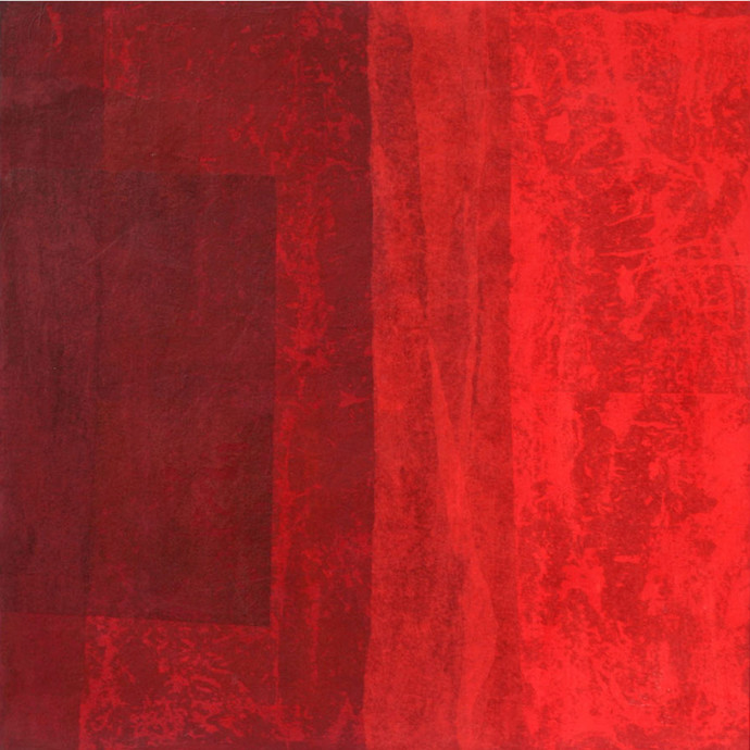 Untitled by Yogesh Rawal, Abstract Painting, Mixed Media on Wood, Red color