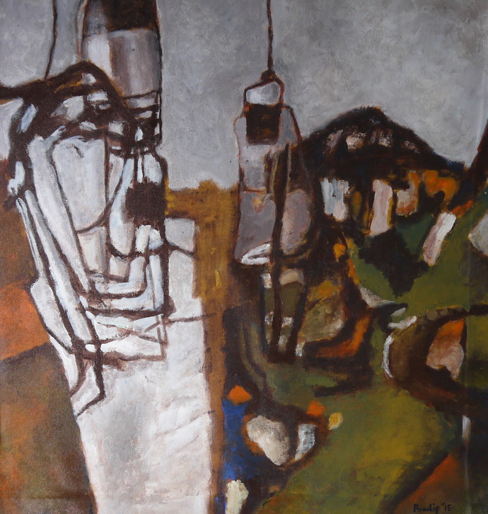 Magic Lantern by Pradip Chaudhuri, Conceptual Painting, Acrylic on Canvas, Brown color