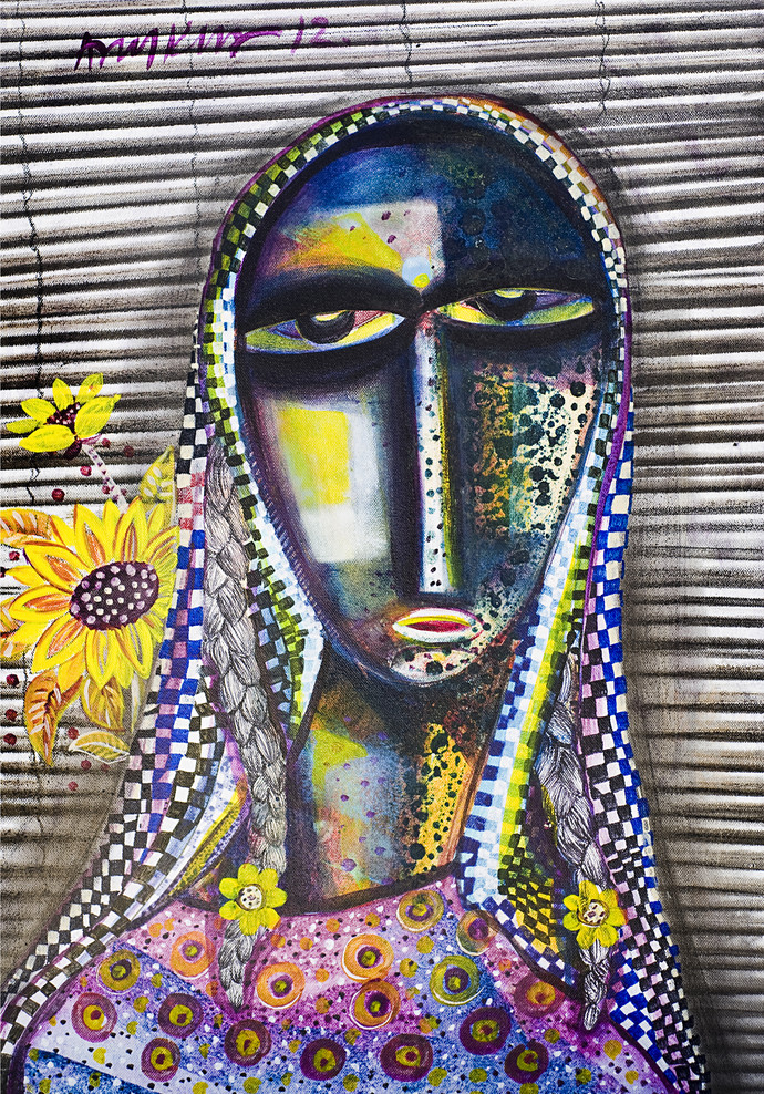 Face 2 by Arun K Mishra, Decorative Painting, Acrylic on Canvas, Gray color