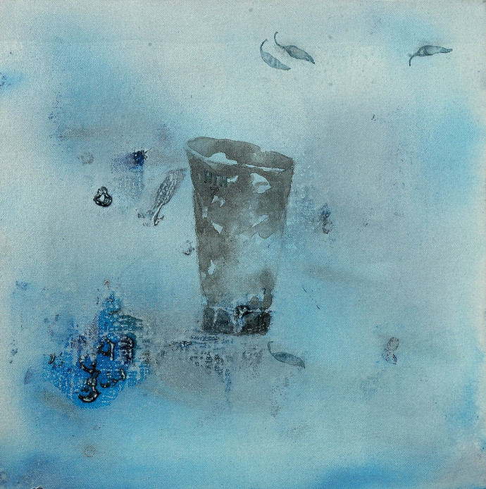 Untitled 1137 by Arvind Patel, Minimalism Painting, Acrylic on Canvas, Cyan color