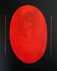 Rising by Rajesh K .Baderia, Minimalism Painting, Acrylic on Canvas, Red color
