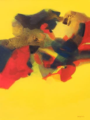 Untitled by Ravindra Parkhi , Abstract Painting, Mixed Media on Canvas, Yellow color