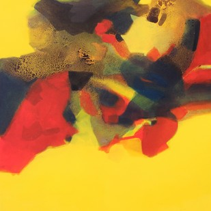 Untitled by Ravindra Parkhi, Abstract Painting, Mixed Media on Canvas, Yellow color
