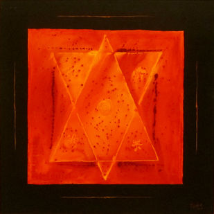 Yantra by Rajesh K .Baderia, Geometrical Painting, Acrylic on Canvas, Red color