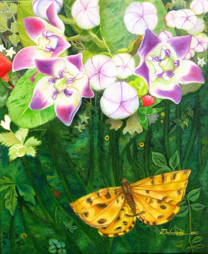 Untitled 11 by Debarati Roy Saha, Decorative Painting, Oil on Canvas, Green color