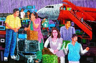 Wapsi by Azizur Rahman Shah, Pop Art Painting, Acrylic on Canvas, Blue color