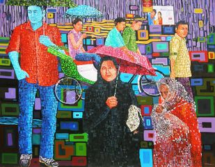 Rin In The City by Azizur Rahman Shah, Pop Art Painting, Acrylic on Canvas, Brown color