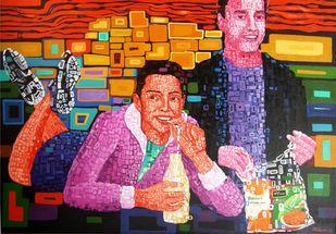Junk Food Eater by Azizur Rahman Shah, Pop Art Painting, Acrylic on Canvas, Brown color
