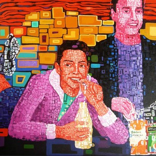 Junk Food Eater by Azizur Rahman Shah, Pop Art Painting, Acrylic on Canvas, Brown color