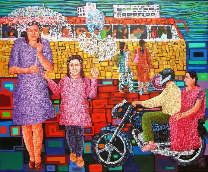 Happy Rrturn by Azizur Rahman Shah, Pop Art Painting, Acrylic on Canvas, Brown color