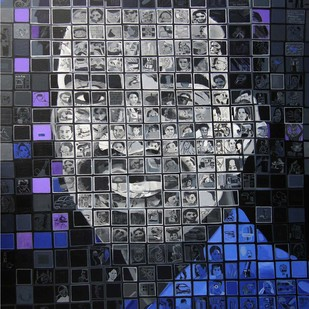 Self Portrait by Azizur Rahman Shah, Pop Art Painting, Acrylic on Canvas, Gray color
