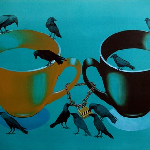 Divide And Rule by Prafulla Nayse, Pop Art Painting, Acrylic & Ink on Paper, Cyan color