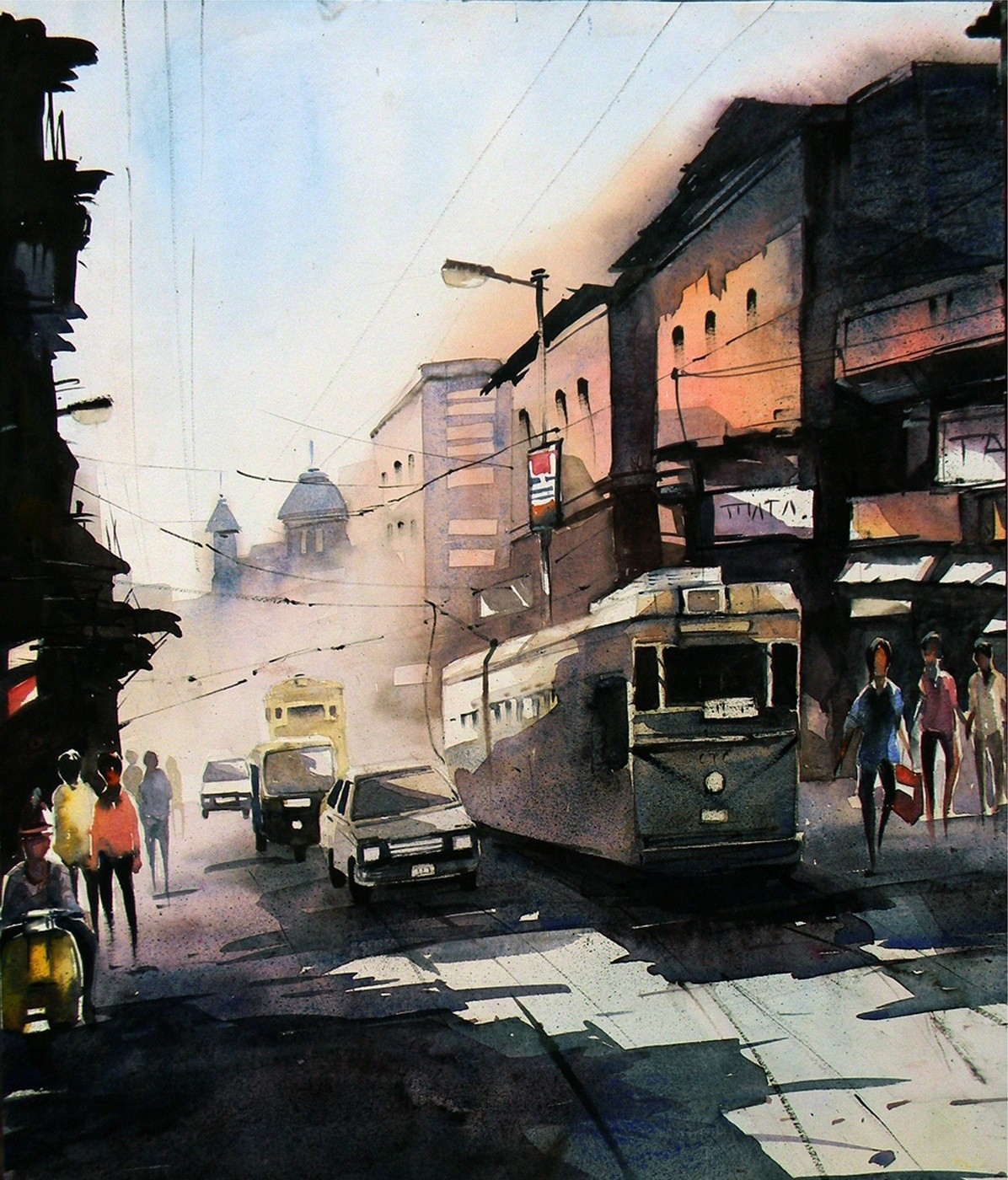 Dark And Light In My City by Tanay Singha, Impressionism Painting, Watercolor on Paper, Gray color