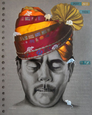 Forced To Keep Silence Required by Prafulla Nayse, Pop Art Painting, Acrylic on Canvas, Gray color
