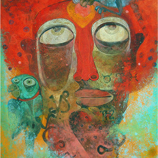 Fortune Teller by Atish Mukherjee, Expressionism Painting, Tempera on Board, Brown color