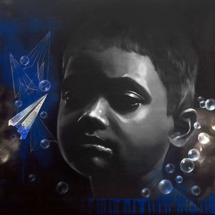 Dreamer by Mithun Dutta, Pop Art Painting, Acrylic on Canvas, Gray color