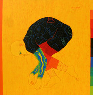 Performer 4 by Kiran Singh, Illustration Painting, Acrylic on Canvas, Orange color
