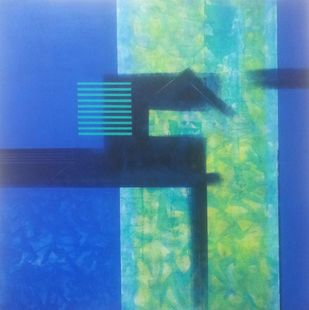 Untitled by Dhirendra Mandge, Abstract Painting, Acrylic on Canvas, Blue color
