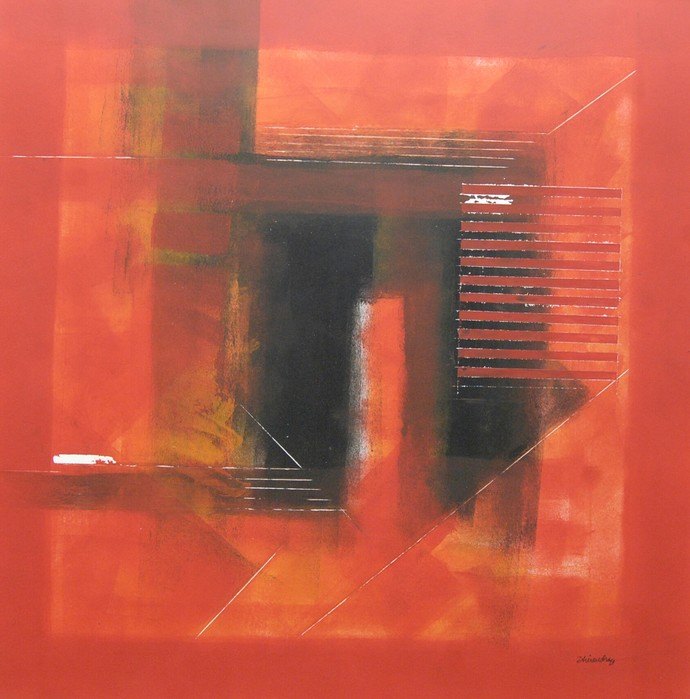 Untitled by Dhirendra Mandge, Abstract Painting, Acrylic on Paper, Red color