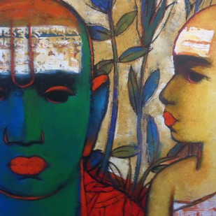 Brahmin IX by Sujata Achrekar, Decorative Painting, Oil on Canvas, Brown color