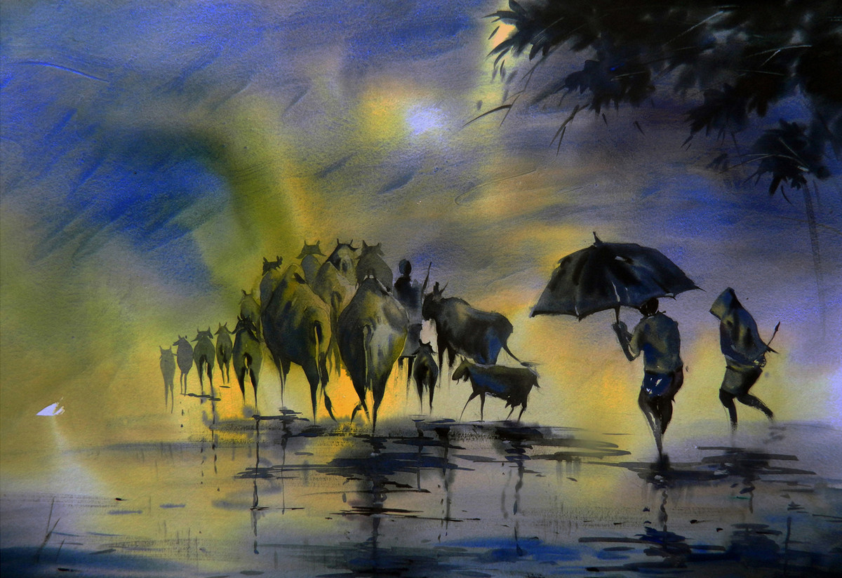 Rainy Journey by Tanay Singha, Impressionism Painting, Watercolor on Paper, Blue color