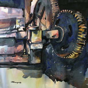 Machine by Tanay Singha, Impressionism Painting, Watercolor on Paper, Gray color