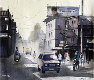 City Light by Tanay Singha, Impressionism Painting, Watercolor on Paper, Gray color