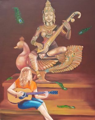 Saraswati by Rupal Buch, Decorative Painting, Oil on Canvas, Brown color
