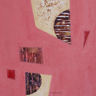 Untitled by Krishna Pulkundwar, Abstract Painting, Acrylic on Canvas, Pink color