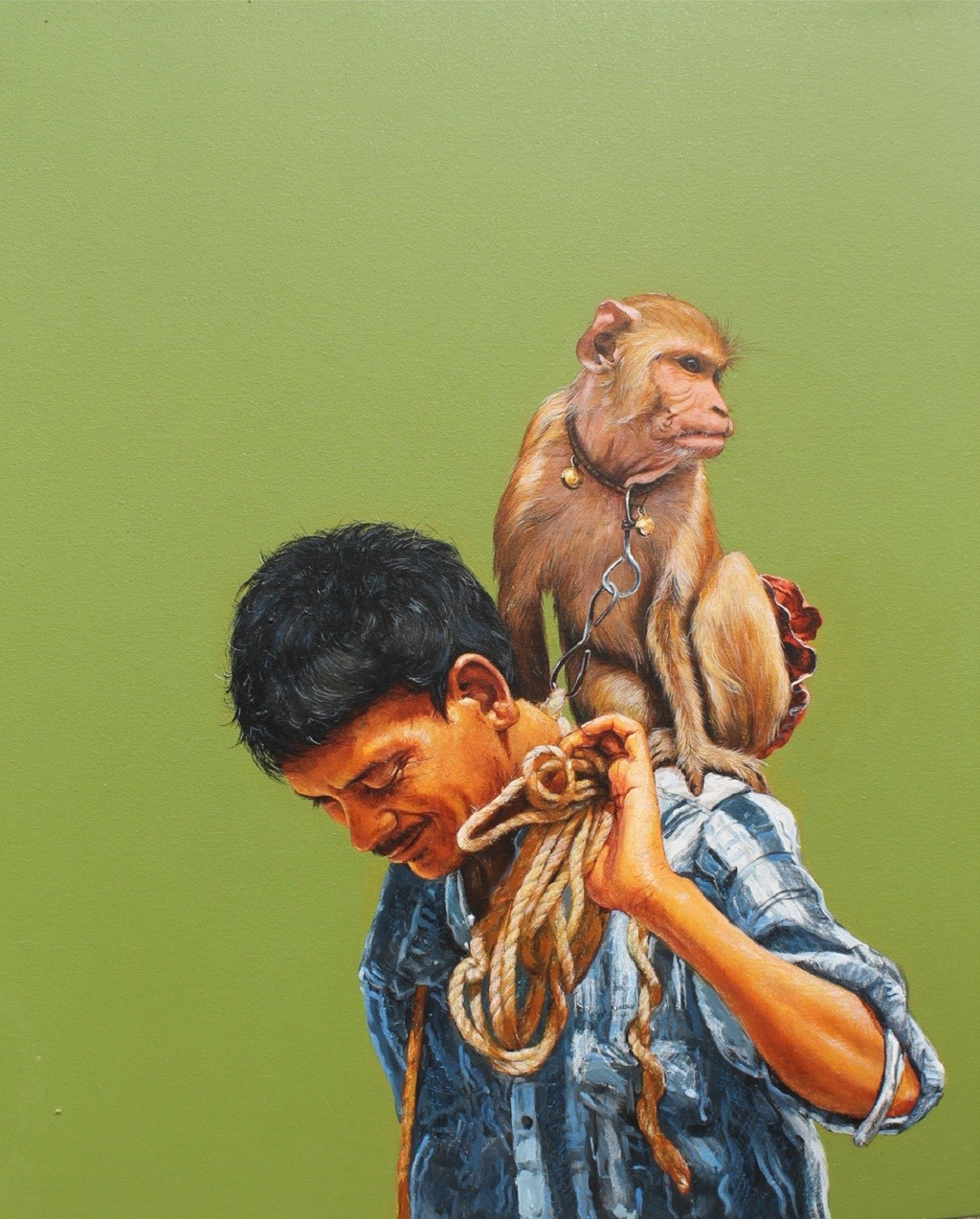 Wild by Satyabrata Karmakar, Realism Painting, Acrylic on Canvas, Green color