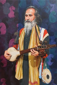 Baul by Satyabrata Karmakar, Realism Painting, Acrylic on Canvas, Blue color