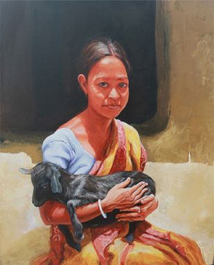 Affection by Satyabrata Karmakar, Realism Painting, Acrylic on Paper, Brown color