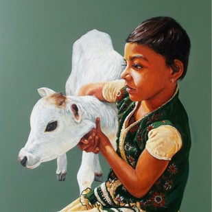 Affection 2 by Satyabrata Karmakar, Realism Painting, Acrylic on Canvas, Green color