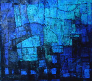 Untitled by Pradip Mazumdar, Abstract Painting, Acrylic on Canvas, Blue color