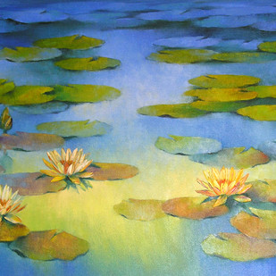 Waterlilies by Swati Kale, Impressionism Painting, Oil on Canvas, Green color