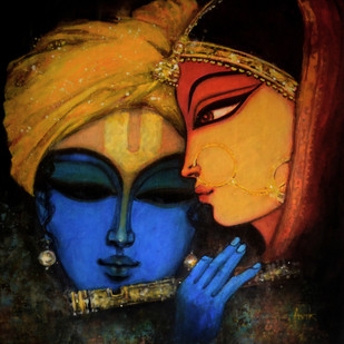 Krishna by Avik Chakraborty, Impressionism Painting, Acrylic on Canvas, Brown color