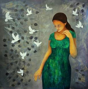 Singing Birds by Priyanka Waghela, Impressionism Painting, Acrylic on Canvas, Green color