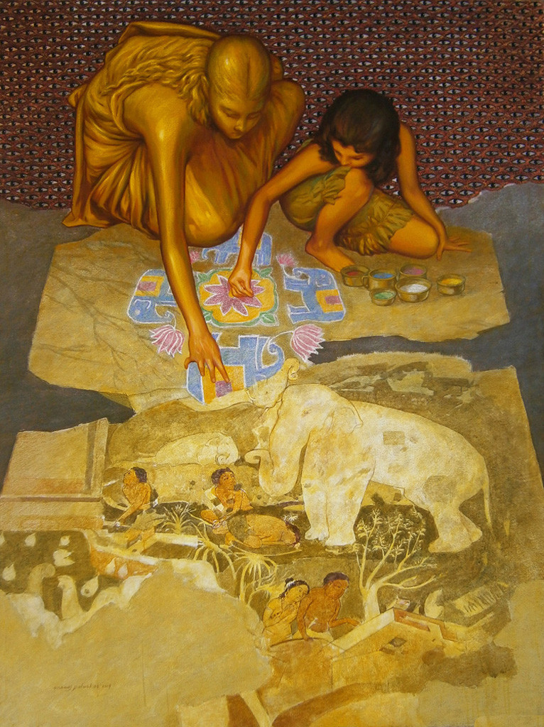 ...By Her Grace by Manoj J. Paturkar, Surrealism Painting, Mixed Media on Canvas, Brown color