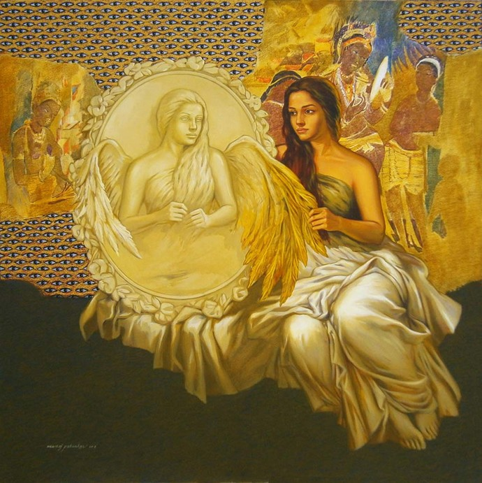 The Mirrormate by Manoj J. Paturkar, Surrealism Painting, Oil & Acrylic on Canvas, Brown color