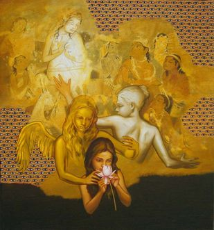 The White Lotus by Manoj J. Paturkar, Surrealism Painting, Oil & Acrylic on Canvas, Brown color