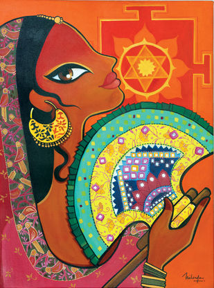 Punkha by Niloufer Wadia, Decorative Painting, Acrylic & Ink on Canvas, Brown color